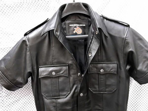 Leather shirt with short sleeves style LS205 custom made www.leather-shop.biz front of shirt image 2