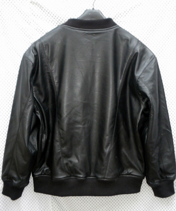 Leather sweat shirt LSS010 with lambskin lining www.leather-shop.biz back of shirt picture