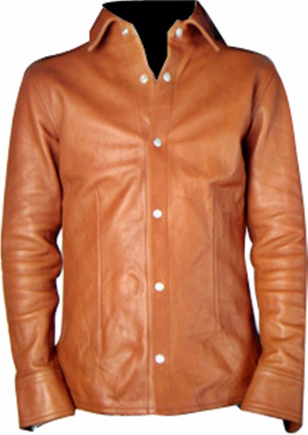 Leather shirt style LS060 brown made to order www.leather-shop.biz front of shirt image