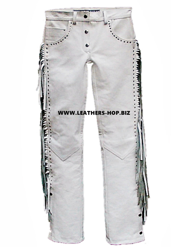 Womens Leather Jean Style Pants WLP2145FS Fringe + Studs