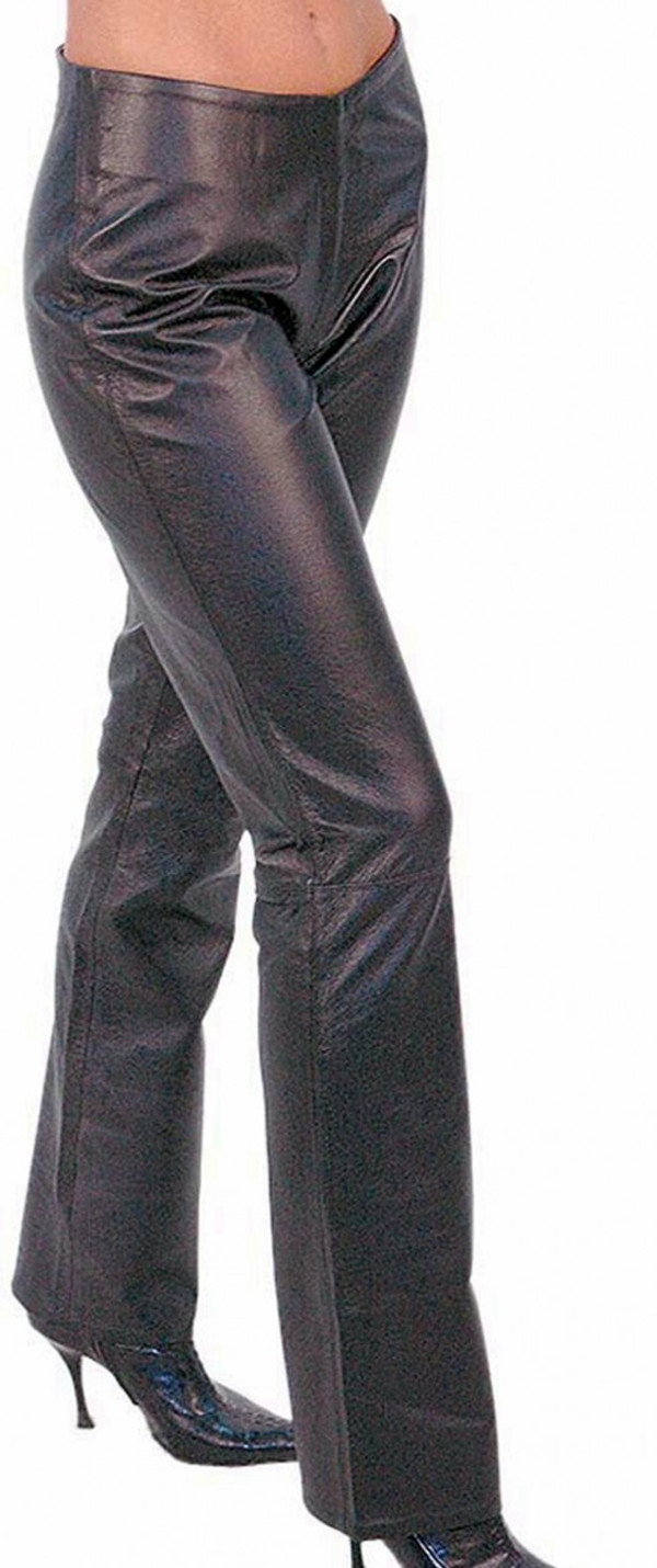 Ladies lambskin leather pants style WLP221 WWW.LEATHER-SHOP.BIZ front pic