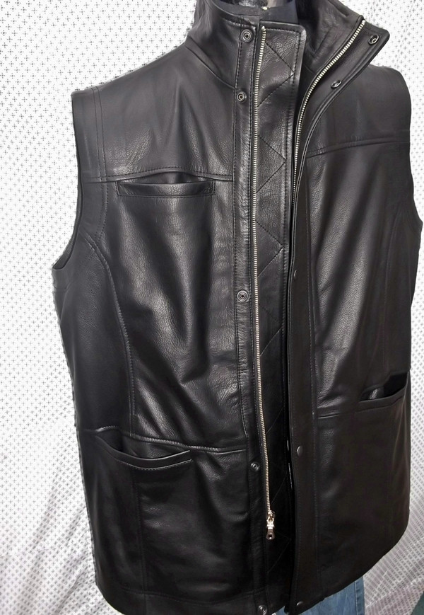 Pikk nahast vest, MLVL10, www.leather-shop.biz esipilt