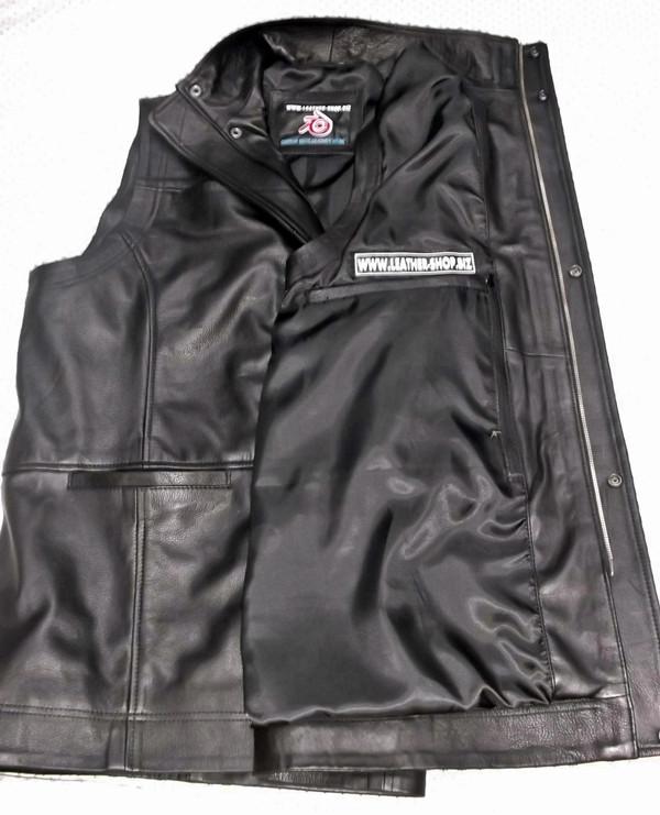Long leather vest style MLVL10 www.leather-shop.biz hidden gun pocket option pic