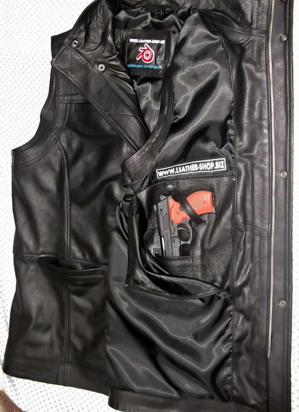 Long leather vest style MLVL11 www.leather-shop.biz gun pocket option pic