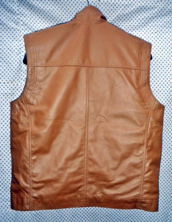 Lange learen vest ljochtbrún MLVL11 www.leather-shop.biz efterkant foto