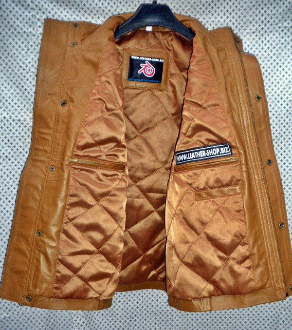 Long leather vest light brown MLVL11 www.leather-shop.biz front open inside pockets pic
