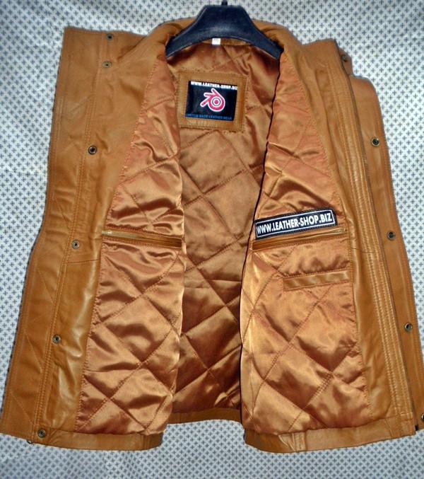 Long leather vest light brown MLVL11 www.leather-shop.biz front open inside pockets pic