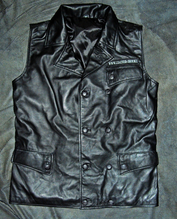 Leather vest based on WWII Luftwaffee style jacket WWW.LEATHER-SHOP.BIZ shown with logo and patch