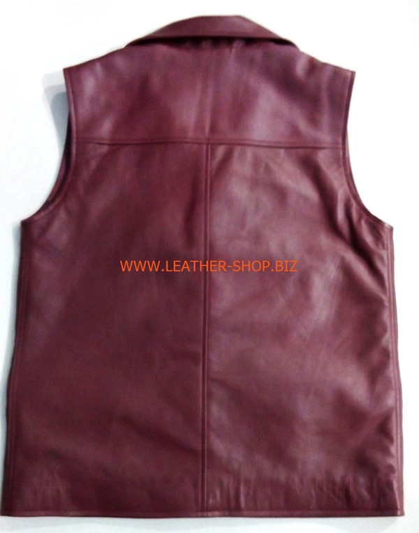 Leather vest style MLVL303 Burgundy color shown, vest back pic.