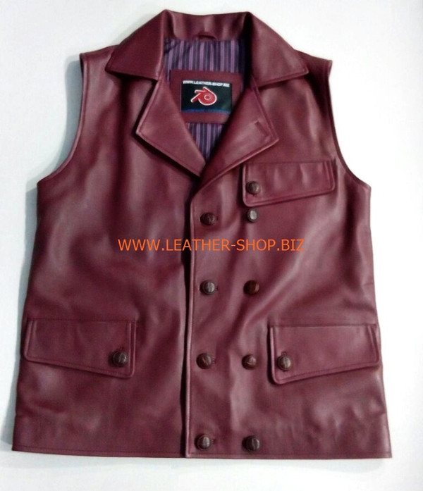 Leather vest style MLVL303 Burgundy color shown, vest front pic.