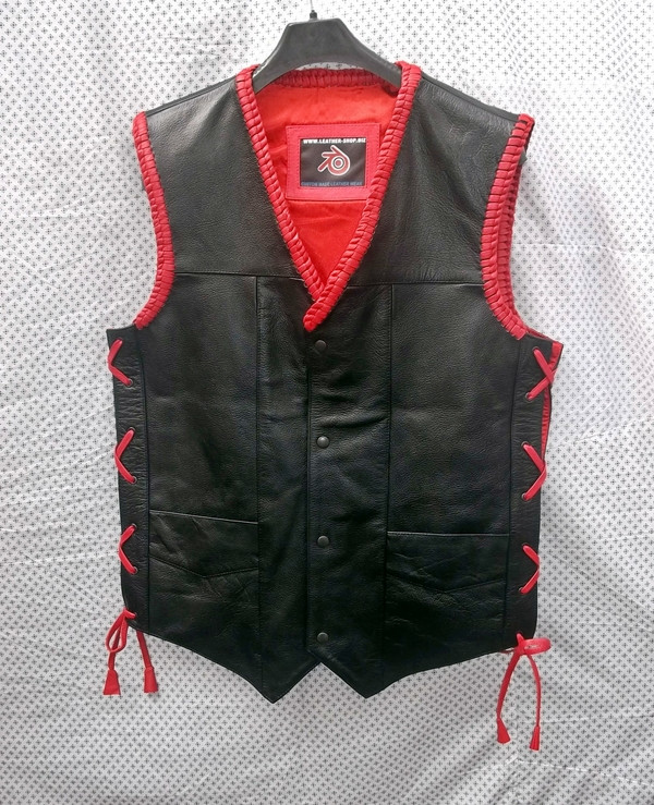 Mens Leather Vest Braided Style MLVB730R front pic