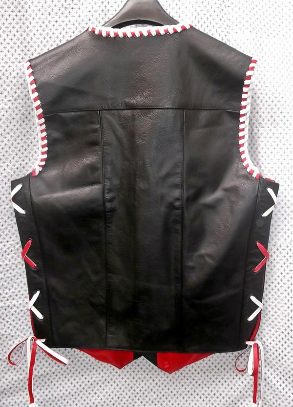 Leather Vest Braided Style MLVB730RW www.leather-shop.biz back pic