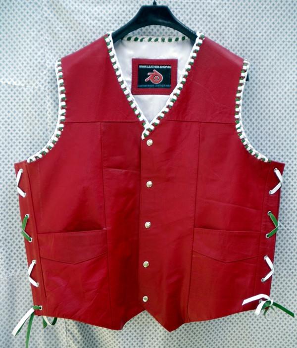 Leather Vest Braided Style MLVB730GW www.leather-shop.biz front pic