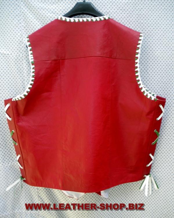 Leather Vest Braided Style MLVB730GW www.leather-shop.biz back pic