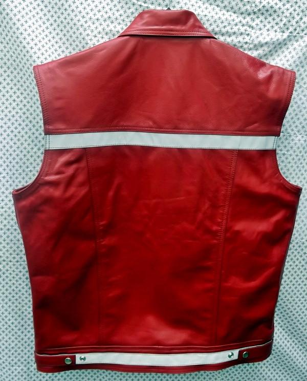 Leather vest style mlvr1331 reflective stripes www.leather-shop.biz back pic