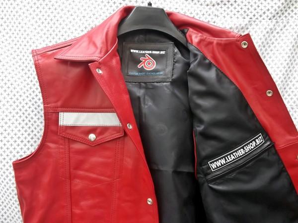 Leather vest style mlvr1331 reflective stripes www.leather-shop.biz front open pic