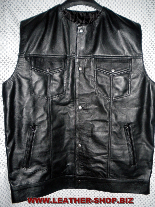 Leather vest style MLV1333 WWW.LEATHER-SHOP.BIZ front pic