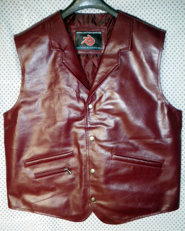 LEATHER VEST WESTERN STYLE MLV85 Burgundija prikazan WWW.LEATHER-SHOP.BIZ prednja slika