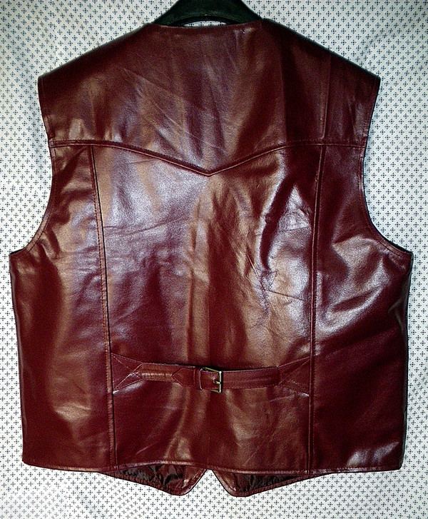 LEATHER VEST WESTERN STYLE MLV85 Burgundski prikazan WWW.LEATHER-SHOP.BIZ natrag slika