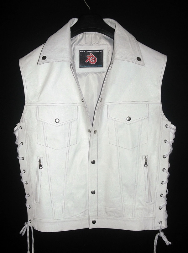 Leather vest with lace side adjustment MLV1310 www.leather-shop.biz front pic 2