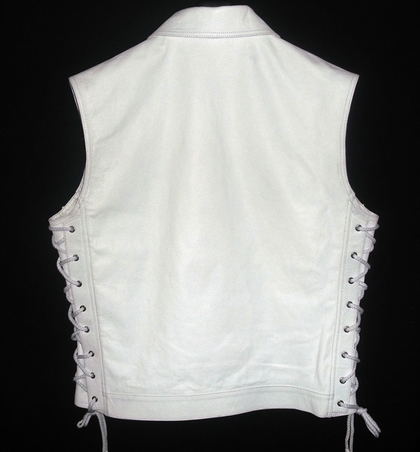 Leather vest with lace side adjustment MLV1310 www.leather-shop.biz back pic