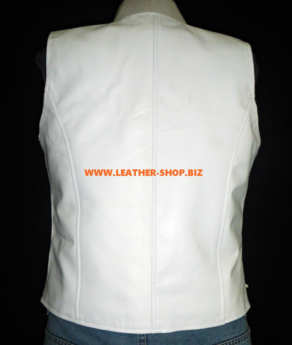 Ladies Leather Vest Style WLV1216 available in 9 colors