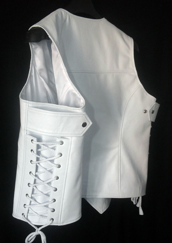 Custom Made Leather Vest Style WLV1201 WWW.LEATHER-SHOP.BIZ side view pic