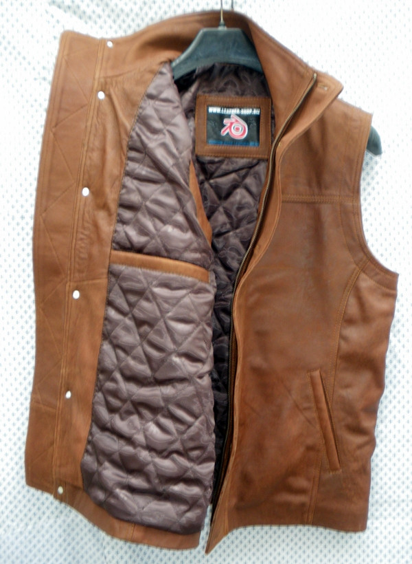 Snuff brown leather long vest style MLVL13 WWW.LEATHER-SHOP.BIZ right inside pic