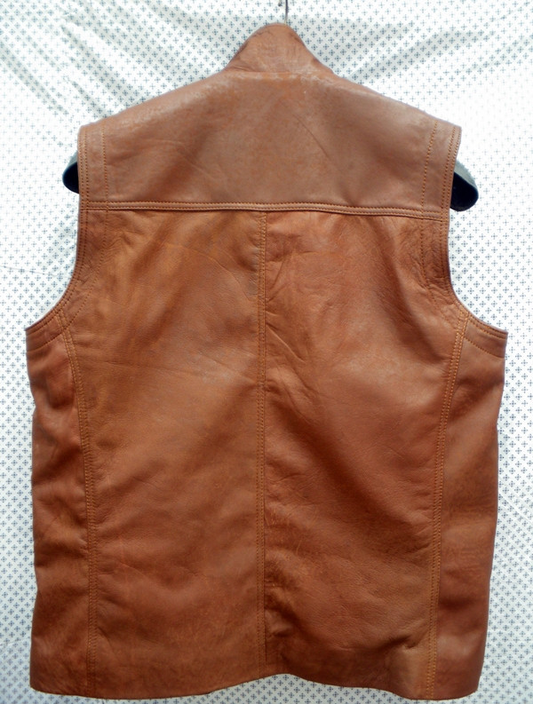 Snuff brown leather long vest style MLVL13 WWW.LEATHER-SHOP.BIZ back pic