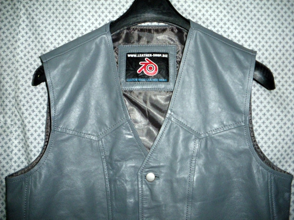 Leather vest style MLV720 Gray WWW.LEATHER-SHOP.BIZ label pic