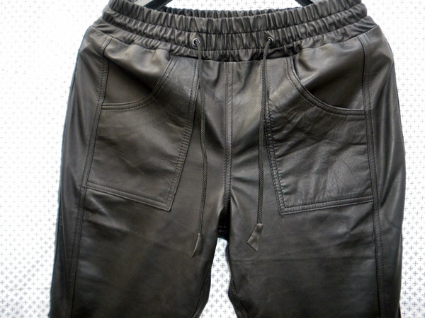 Lambskin Leather Sweat Pants Style LSP040 Justin Bieber replica custom made WWW.LEATHER-SHOP.BIZ front pockets pic