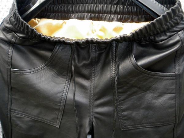 Lambskin Leather Sweat Pants Style LSP040 Justin Bieber replica custom made WWW.LEATHER-SHOP.BIZ waistband pic