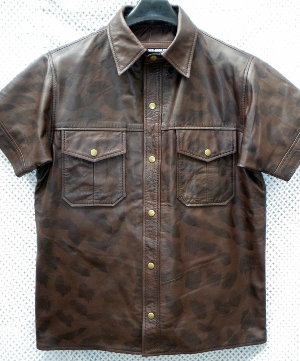Leather Short Sleeve Shirt LS210 distressed style WWW.LEATHER-SHOP.BIZ front pic