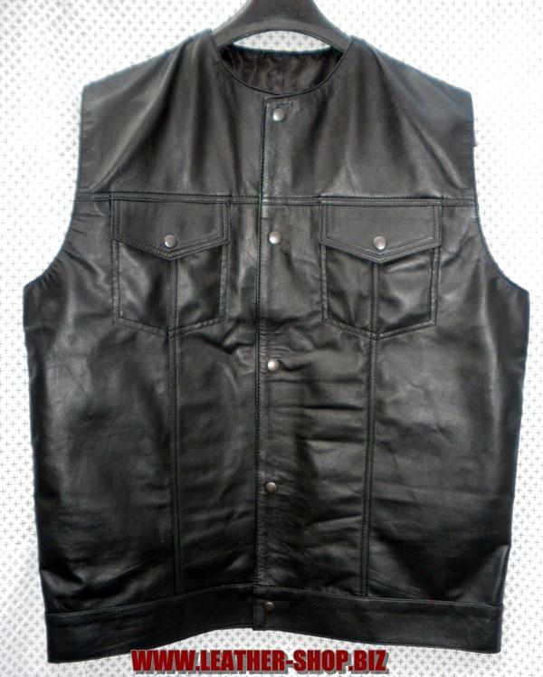 Kožna košulja bez rukava LS260 bez ovratnika u stilu WWW.LEATHER-SHOP.BIZ prednja slika