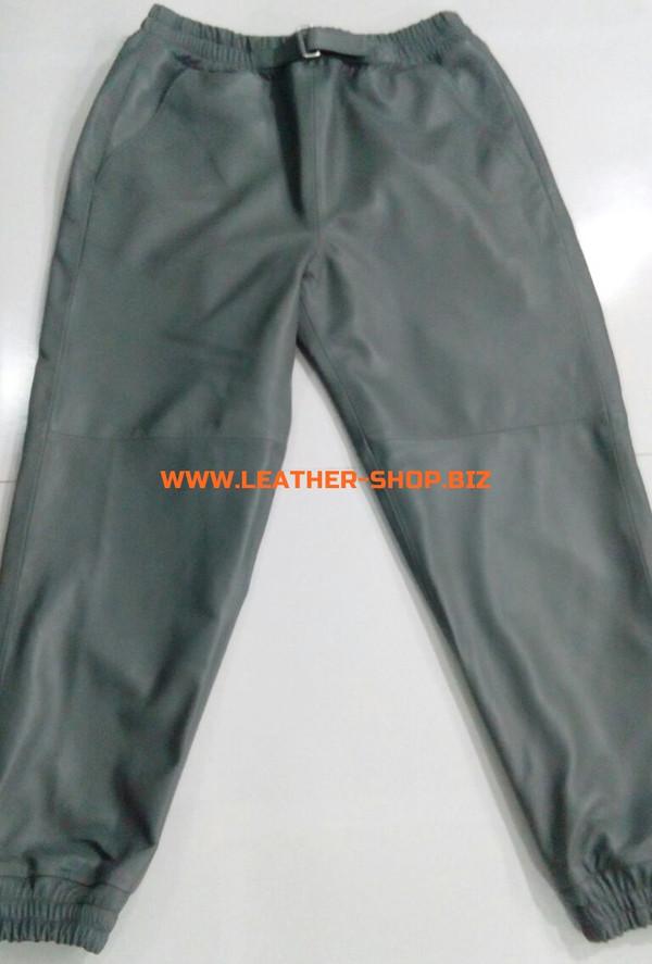 بنطلون عرق رمادي من الجلد LSP006 WWW.LEATHER-SHOP