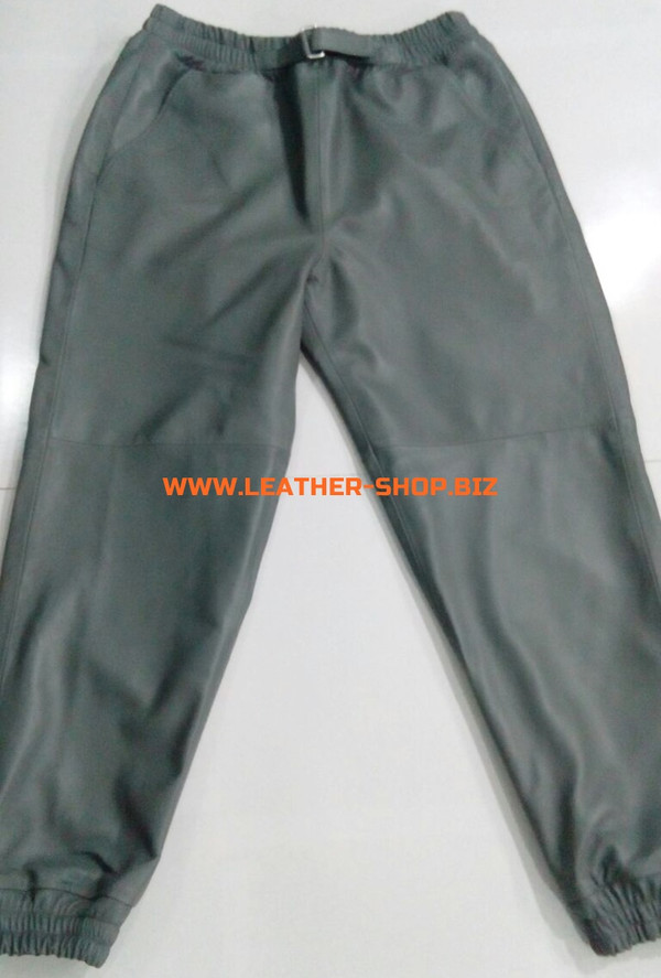 Gray leather sweat pants style LSP006 WWW.LEATHER-SHOP.BIZ custom made front