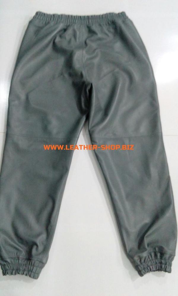 بنطلون عرق رمادي من الجلد LSP006 WWW.LEATHER-SHOP.BIZ حسب الطلب