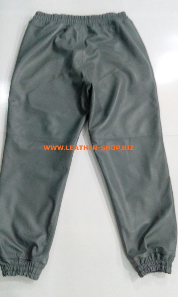 Gray leather sweat pants style LSP006 WWW.LEATHER-SHOP.BIZ custom made back