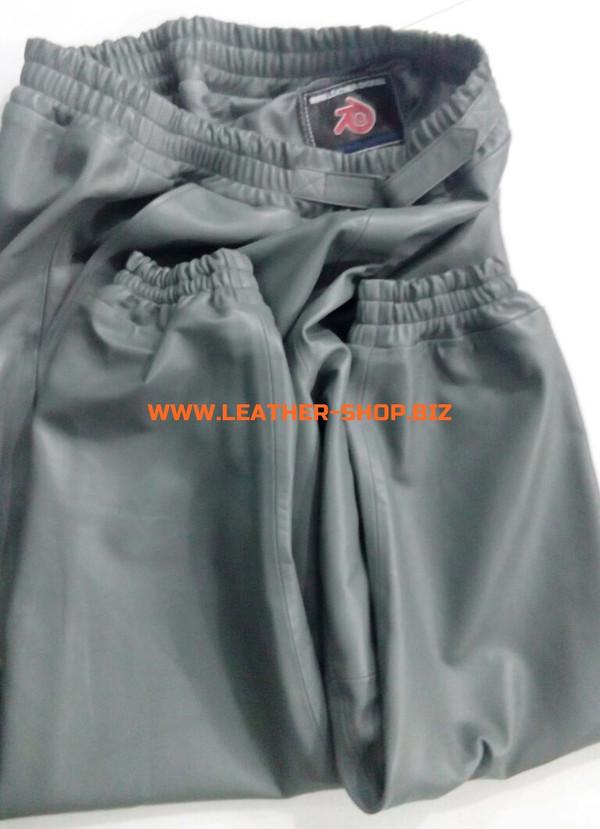 بنطلون رياضي من الجلد الرمادي اللون LSP006 WWW.LEATHER-SHOP.alibaba.com بالطلب بنطلون مطوي