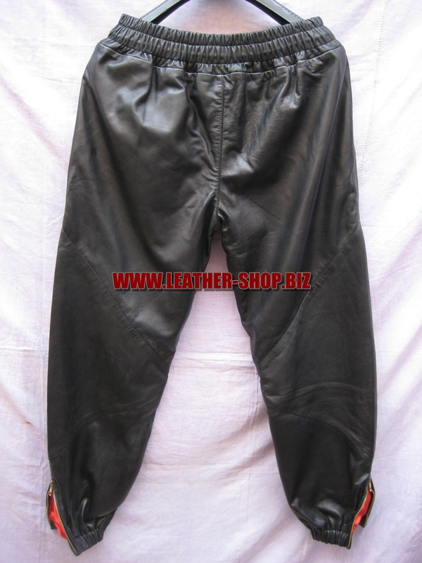 Leather sweat pants kanye west style  LSP100 www.leather-shop.biz back pic