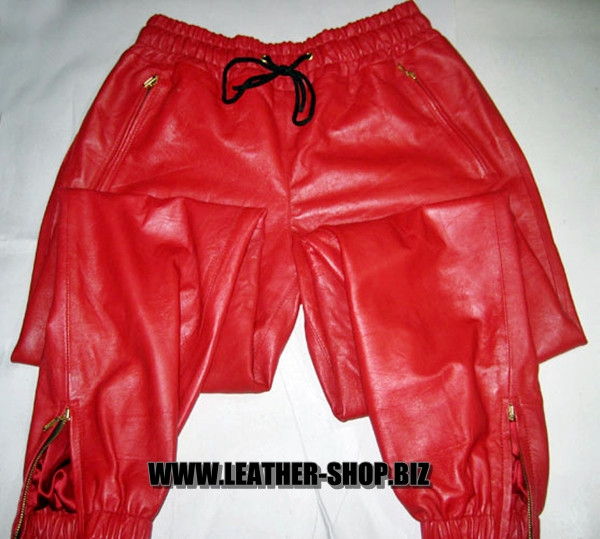 Leather sweat pants kanye west style  LSP101 www.leather-shop.biz front 2 pic