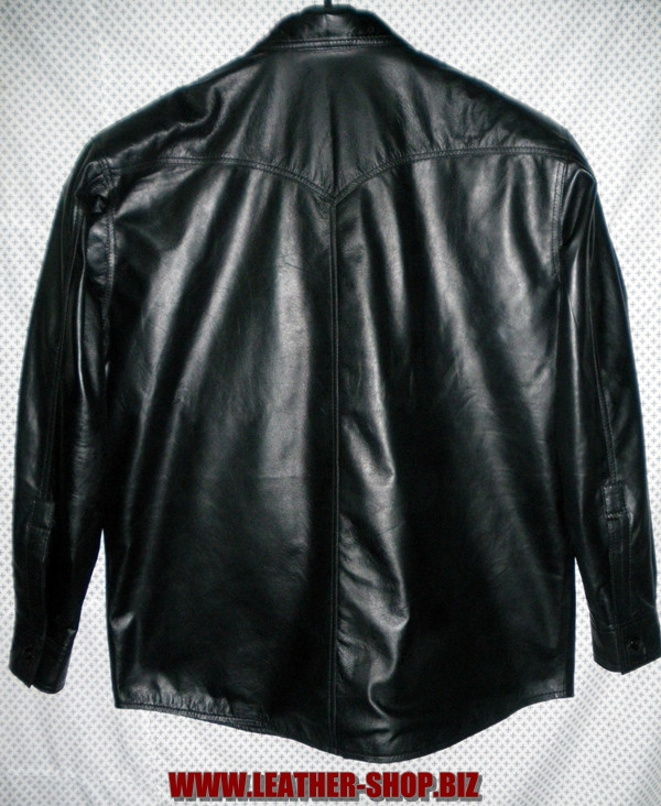 Leather shirt style LS032 black www.leather-shop.biz back pic