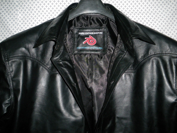 Leather shirt style LS032 black www.leather-shop.biz collar pic