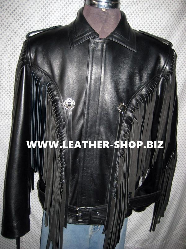 Fringed leather jacket custom made style MLFJ201 black WWW.LEATHER-SHOP.BIZ  front zipped up pic