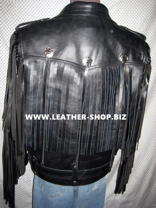 Fringed leather jacket custom made style MLFJ201 black WWW.LEATHER-SHOP.BIZ back pic