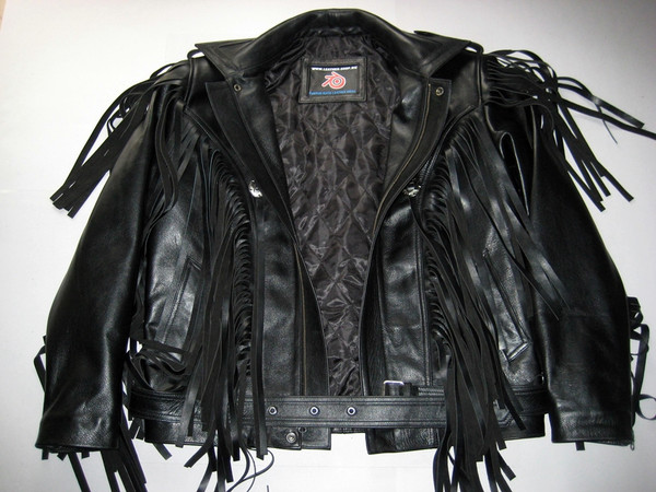 Fringed leather jacket custom made style MLFJ201 black WWW.LEATHER-SHOP.BIZ front opened pic