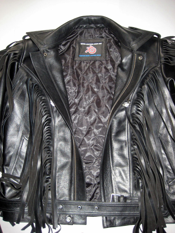 Fringed leather jacket custom made style MLFJ201 black WWW.LEATHER-SHOP.BIZ front close up pic