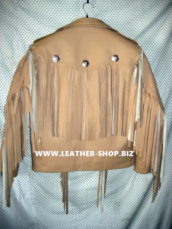 Giacca di pelle con frange su misura stile MLFJ203 marrone chiaro WWW.LEATHER-SHOP.BIZ foto posteriore