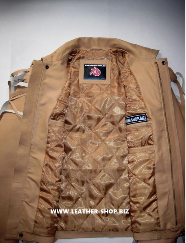Giacca di pelle con frange su misura stile MLFJ203 marrone chiaro WWW.LEATHER-SHOP.BIZ foto interna