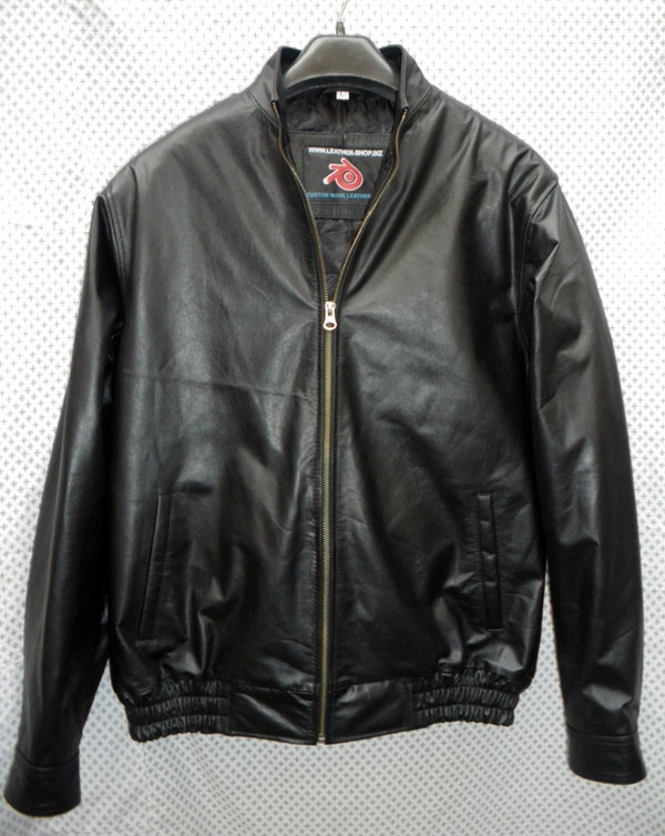 Leather bomber jacket front view 1 pic